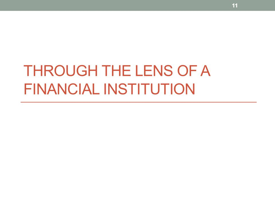 Through the Lens of a Financial Institution