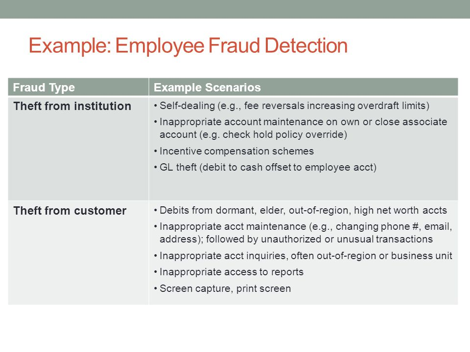 Example: Employee Fraud Detection