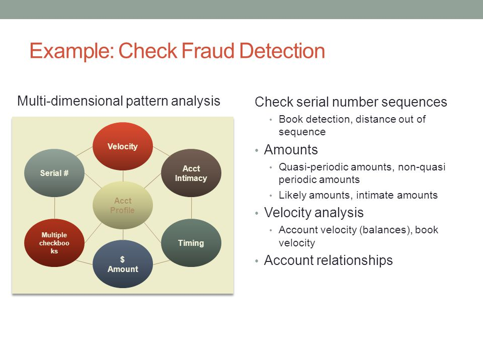 Example: Check Fraud Detection