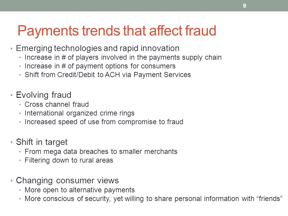 Payments trends that affect fraud