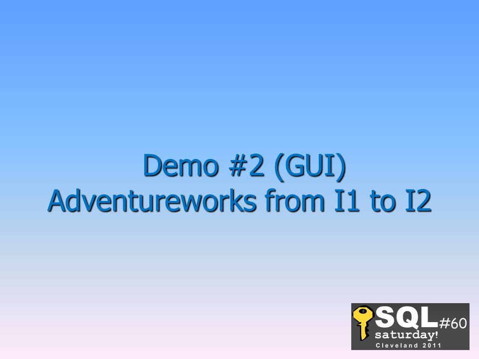Demo #2 (GUI) Adventureworks from I1 to I2