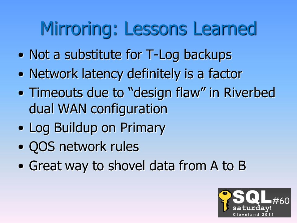 Mirroring: Lessons Learned