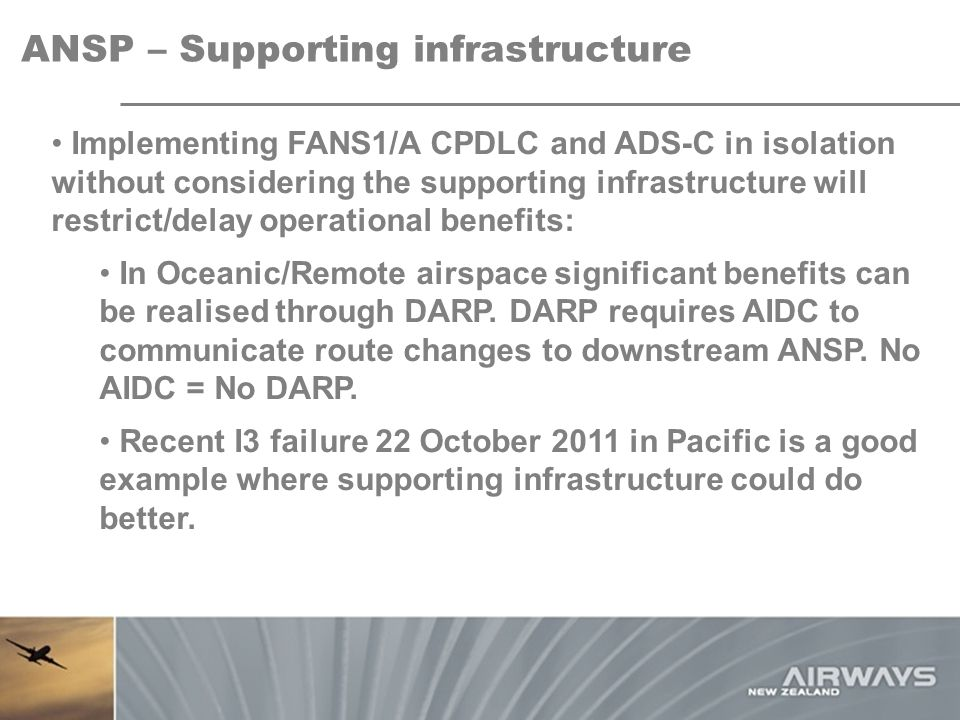 ANSP – Supporting infrastructure