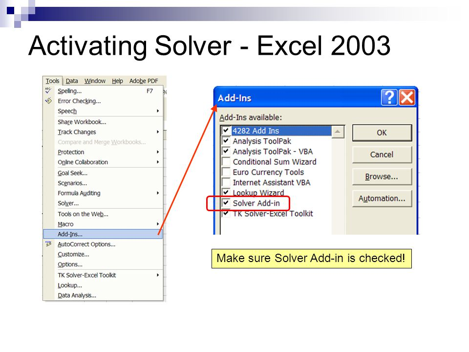 Activating Solver - Excel 2003