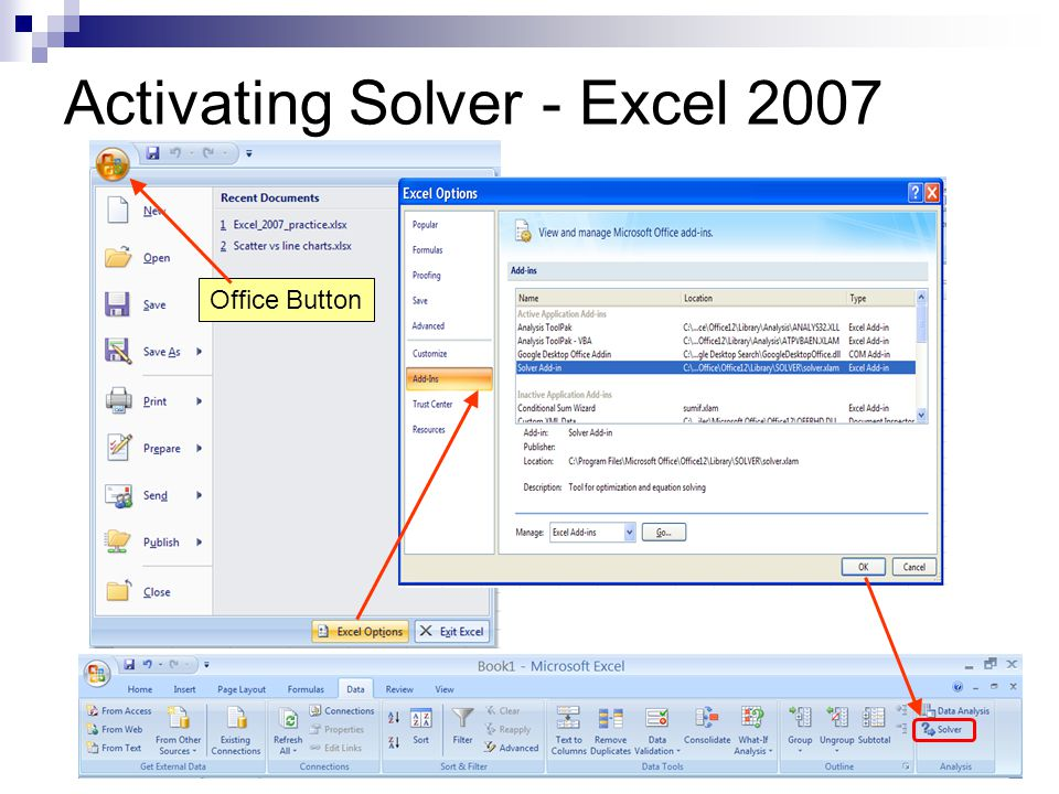 Activating Solver - Excel 2007