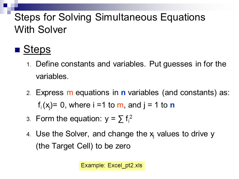 Steps for Solving Simultaneous Equations With Solver