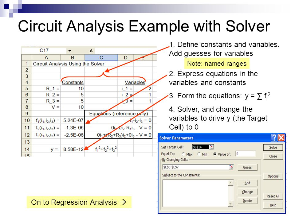 Circuit Analysis Example with Solver