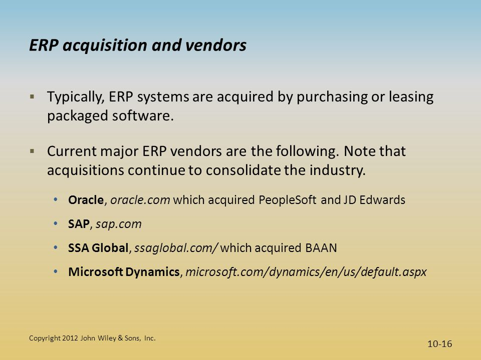 ERP acquisition and vendors