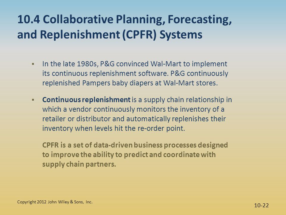10.4 Collaborative Planning, Forecasting, and Replenishment (CPFR) Systems