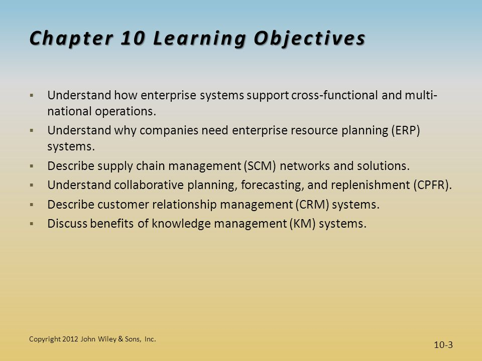 Chapter 10 Learning Objectives