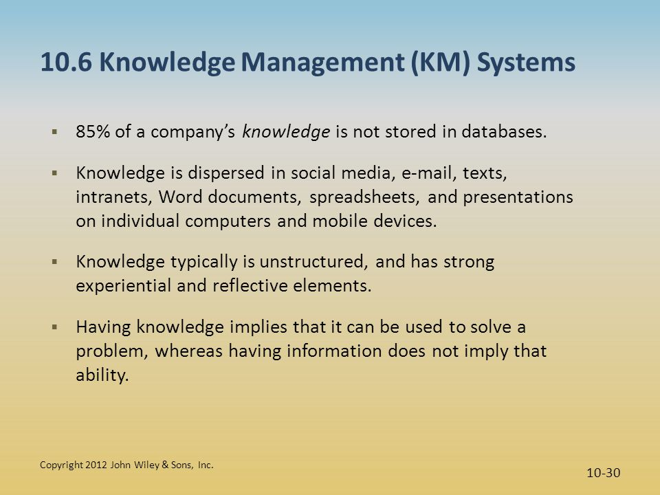 10.6 Knowledge Management (KM) Systems