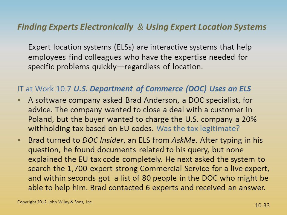 Finding Experts Electronically & Using Expert Location Systems