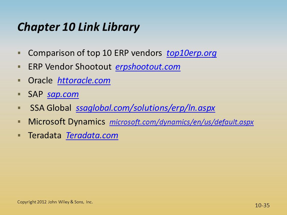 Chapter 10 Link Library Comparison of top 10 ERP vendors top10erp.org