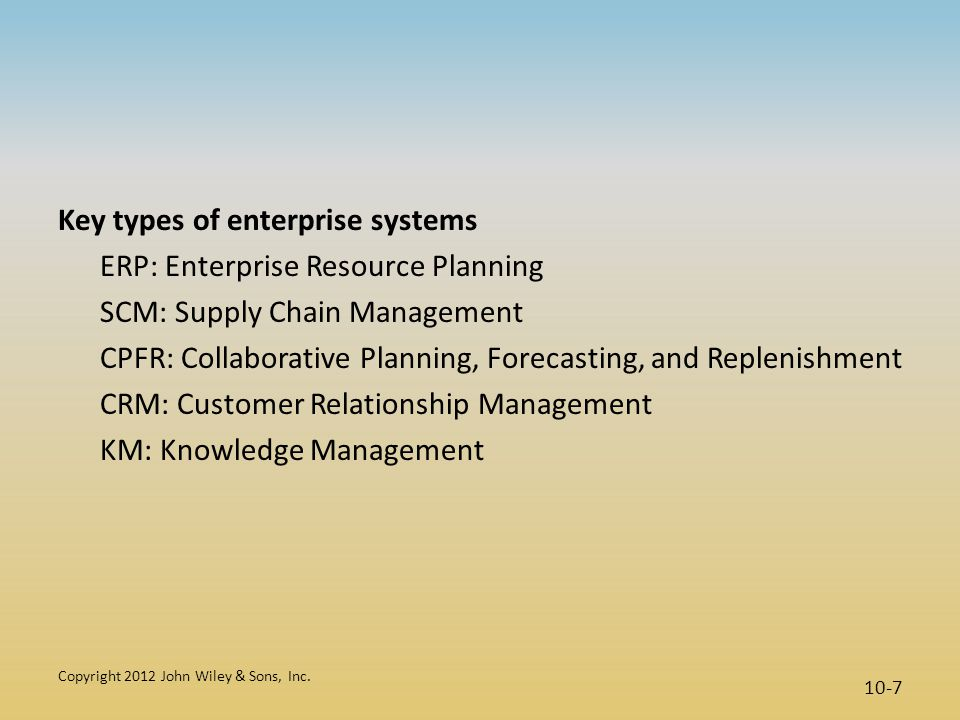 Key types of enterprise systems ERP: Enterprise Resource Planning