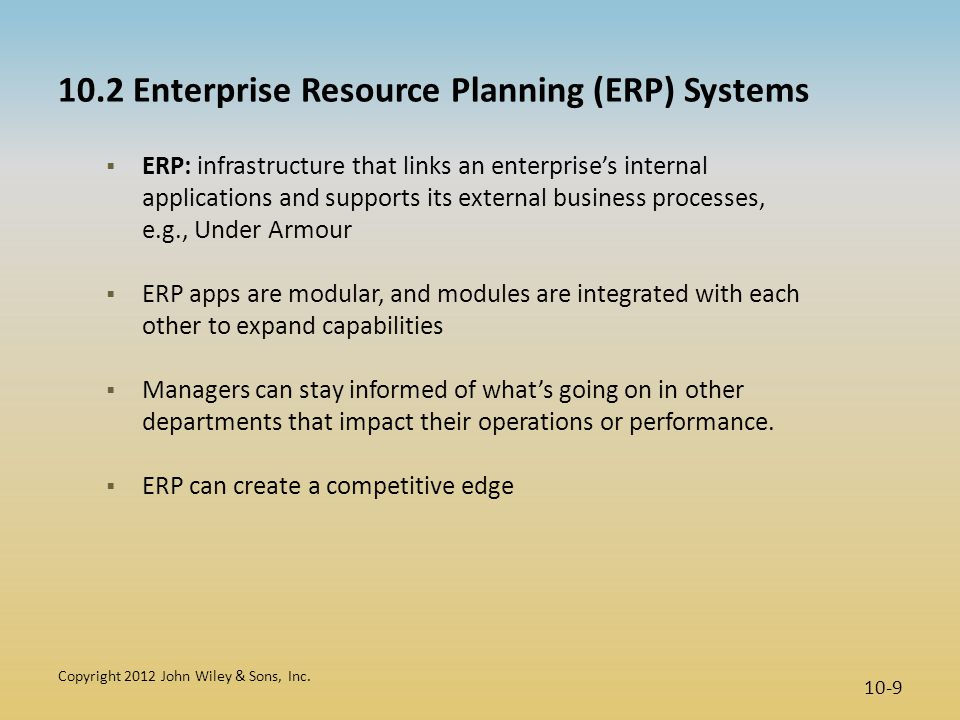 10.2 Enterprise Resource Planning (ERP) Systems