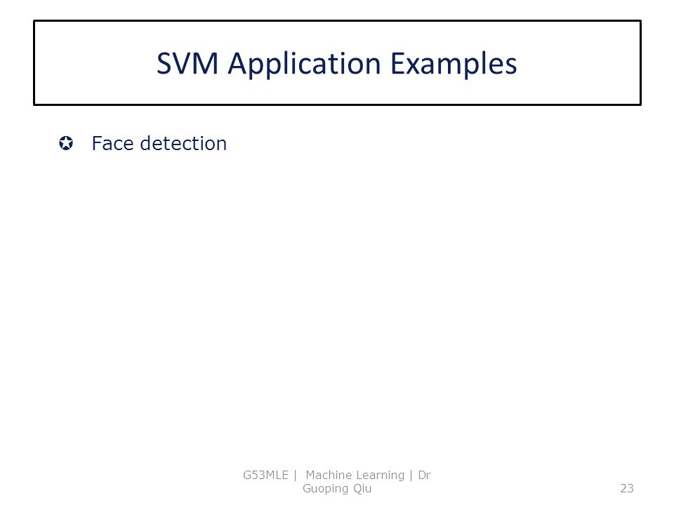 SVM Application Examples
