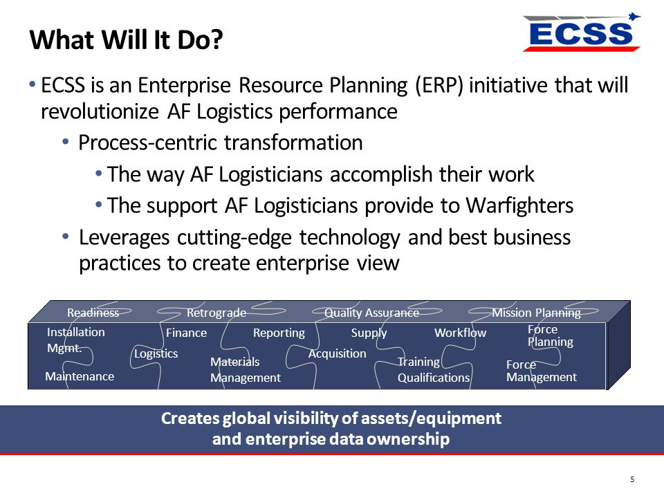 What Will It Do ECSS is an Enterprise Resource Planning (ERP) initiative that will revolutionize AF Logistics performance.