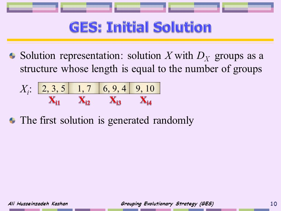 GES: Initial Solution Solution representation: solution X with DX groups as a structure whose length is equal to the number of groups.