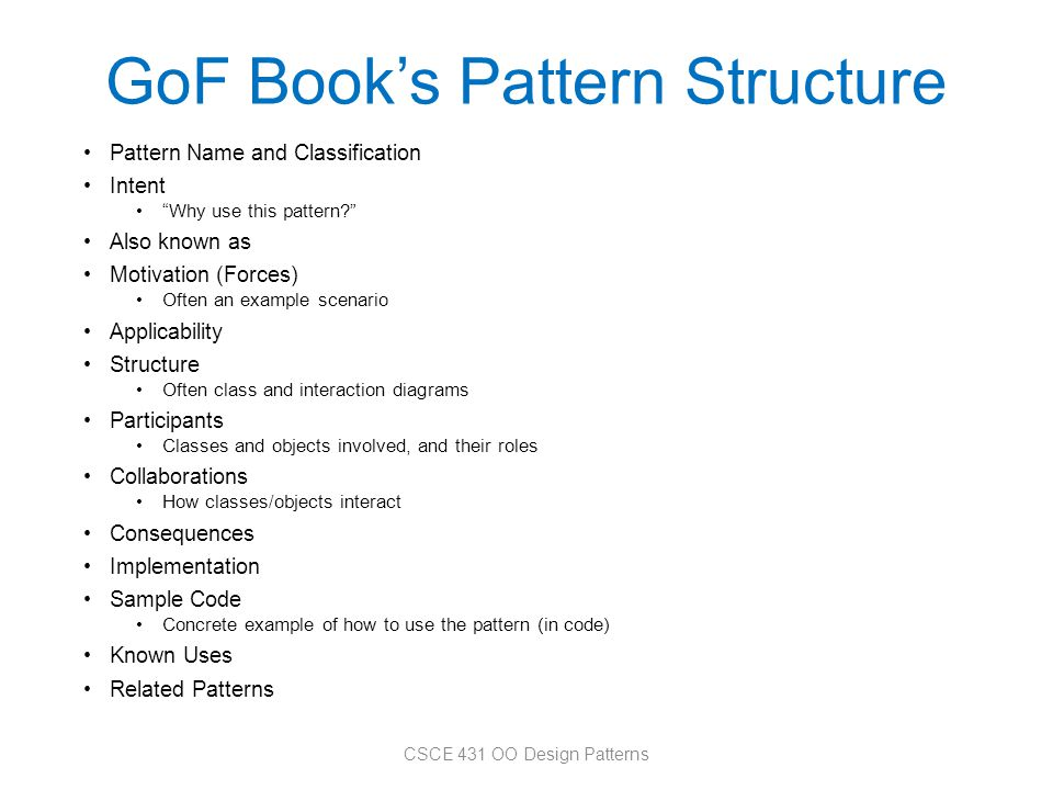 GoF Book's Pattern Structure
