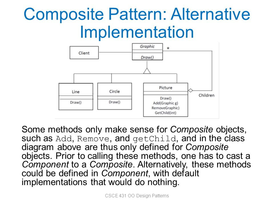 Composite Pattern: Alternative Implementation