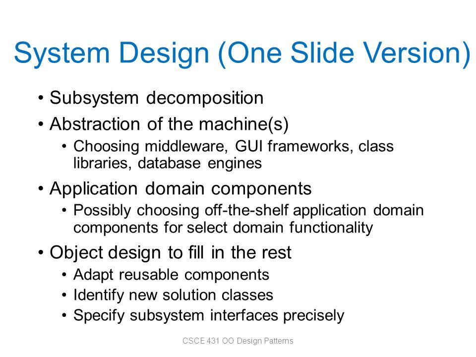 System Design (One Slide Version)