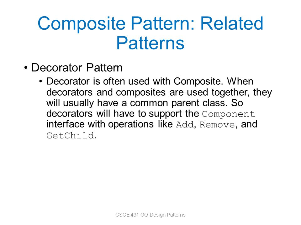 Composite Pattern: Related Patterns