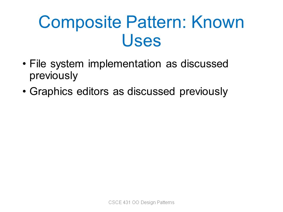 Composite Pattern: Known Uses