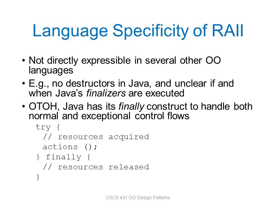 Language Specificity of RAII