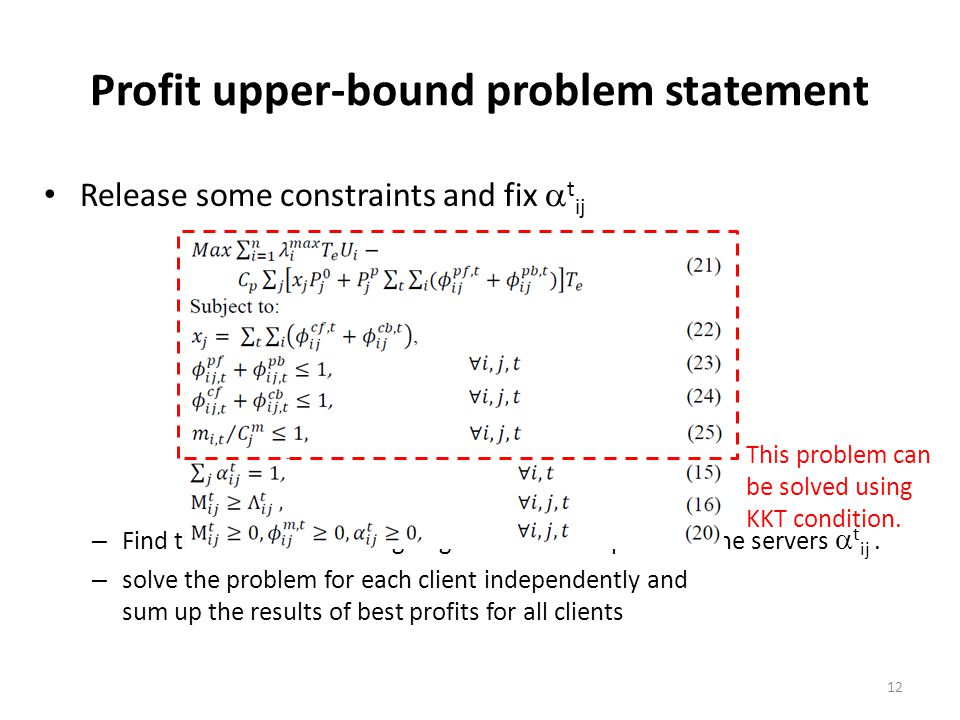 Profit upper-bound problem statement