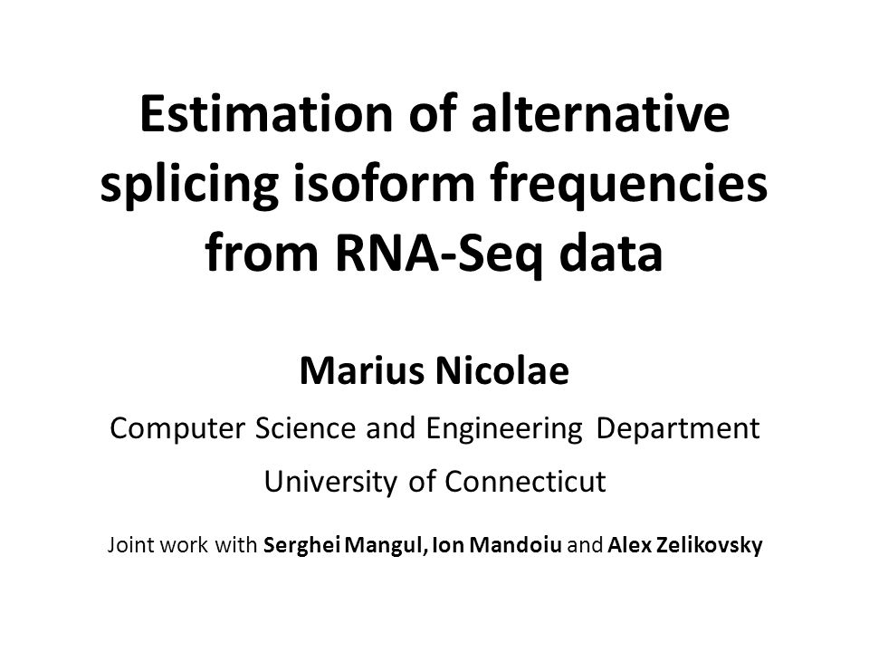 Estimation of alternative splicing isoform frequencies from RNA-Seq data