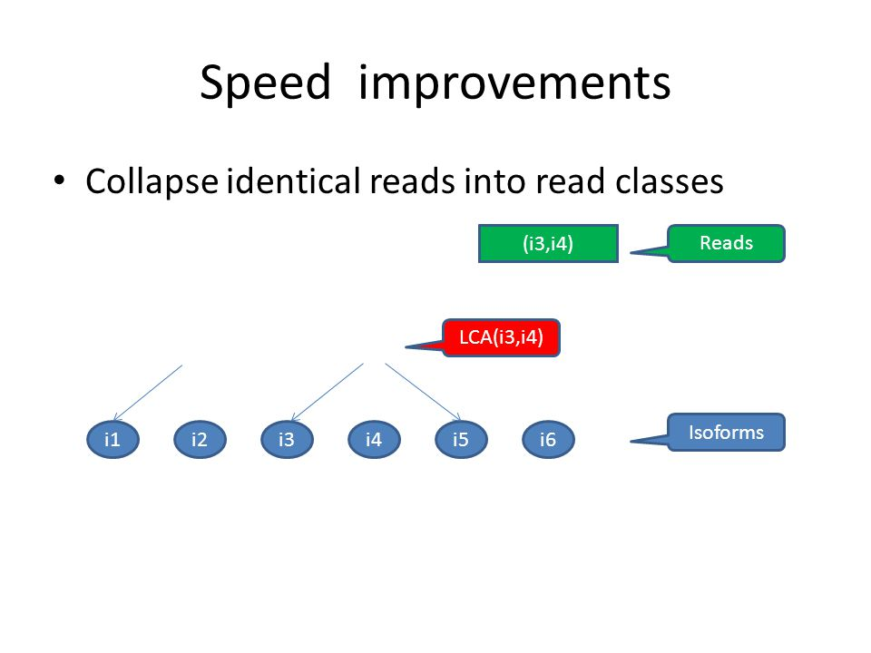 Speed improvements Collapse identical reads into read classes (i3,i4)