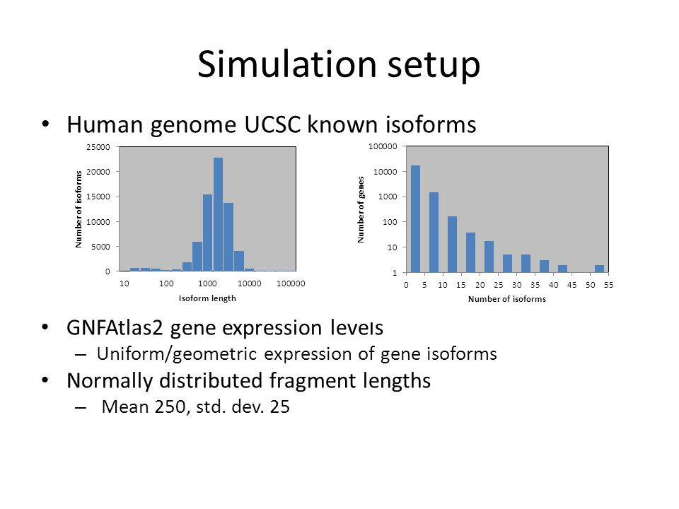 Simulation setup Human genome UCSC known isoforms