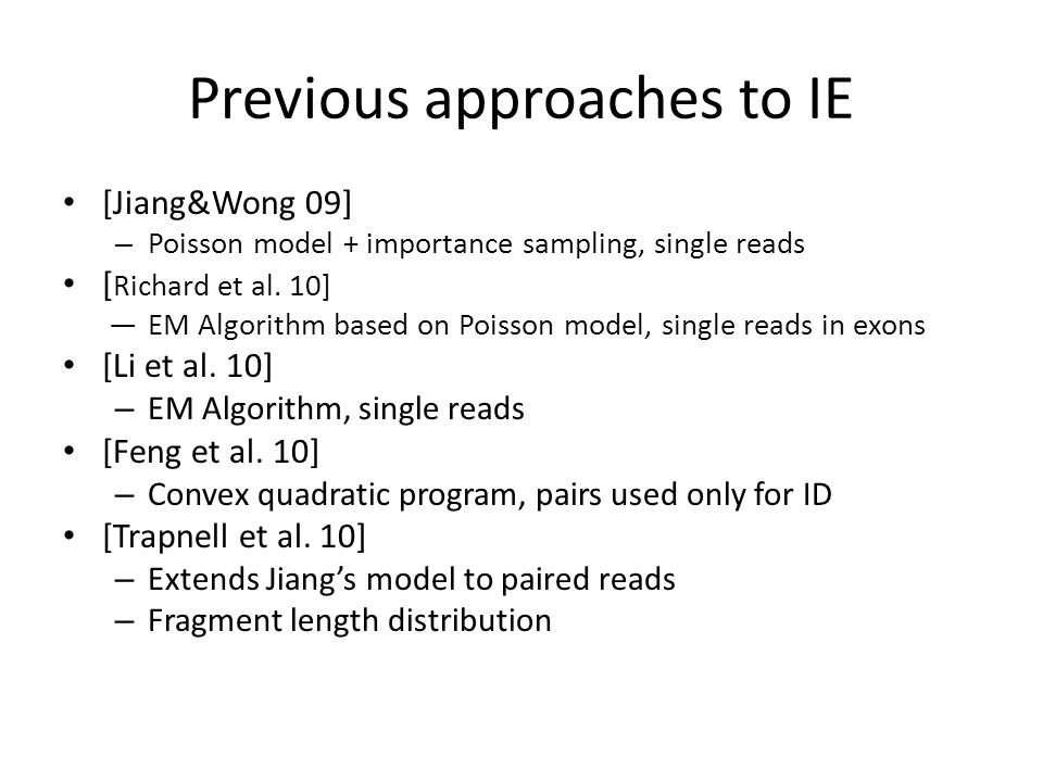 Previous approaches to IE