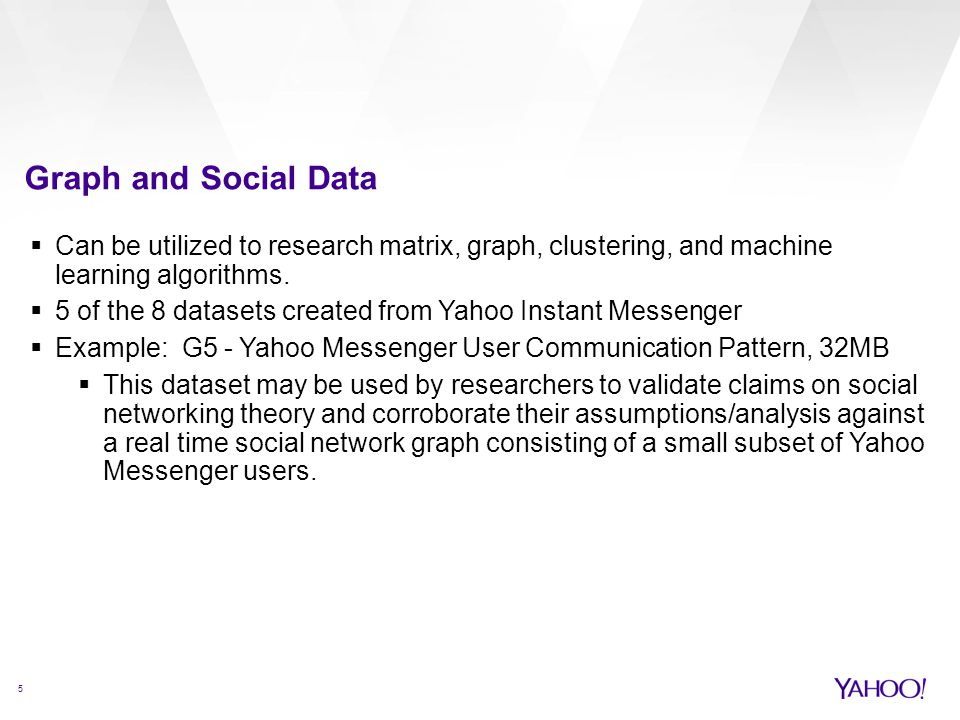 Graph and Social Data Can be utilized to research matrix, graph, clustering, and machine learning algorithms.