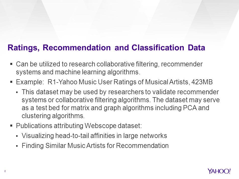 Ratings, Recommendation and Classification Data