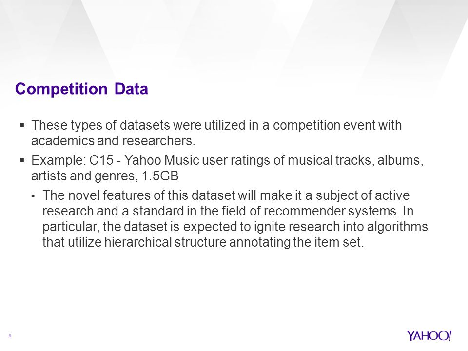 Competition Data These types of datasets were utilized in a competition event with academics and researchers.