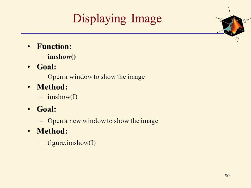 Displaying Image Function: Goal: Method: imshow()