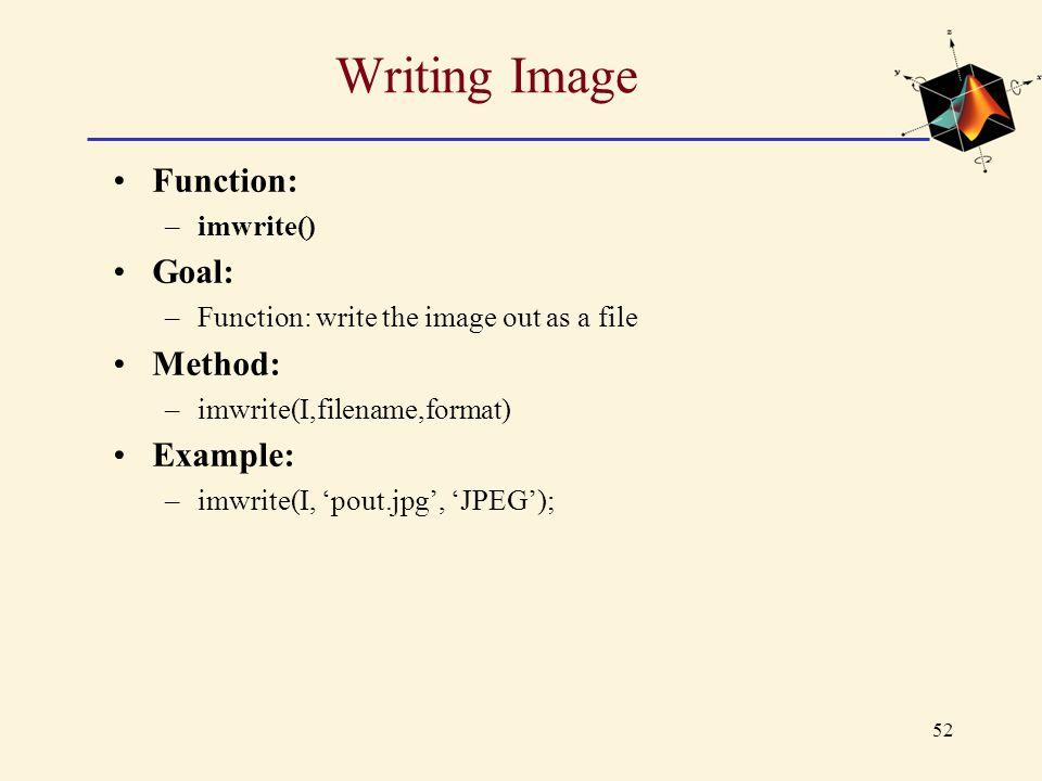 Writing Image Function: Goal: Method: Example: imwrite()