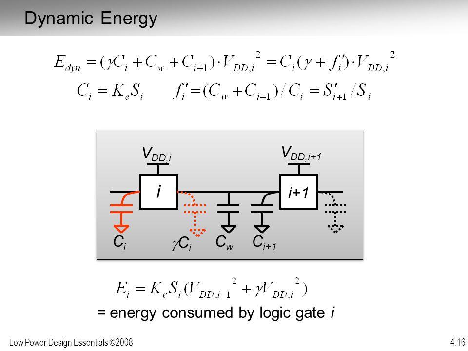Dynamic Energy i i+1 Cw gCi Ci Ci+1 VDD,i+1 VDD,i
