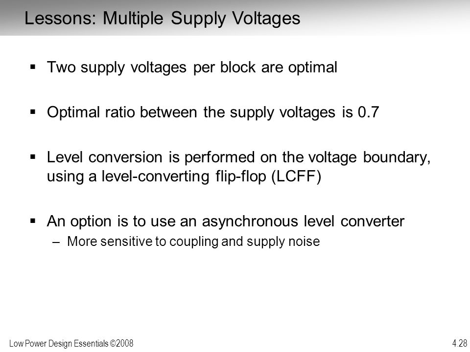 Lessons: Multiple Supply Voltages