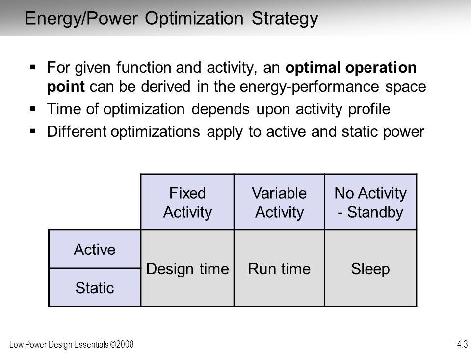 Energy/Power Optimization Strategy