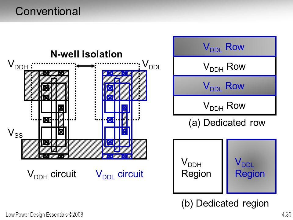 Conventional VDDL Row N-well isolation VDDH VDDL VDDH Row VDDL Row