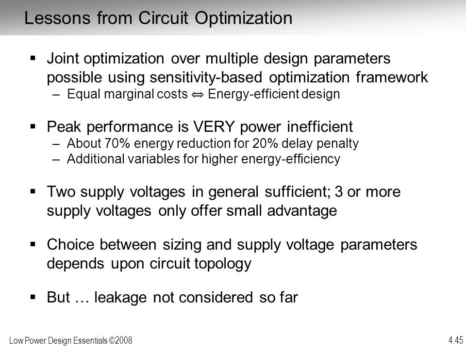Lessons from Circuit Optimization