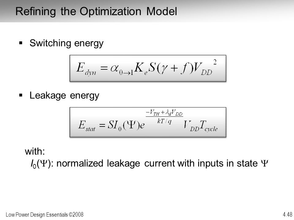 Refining the Optimization Model