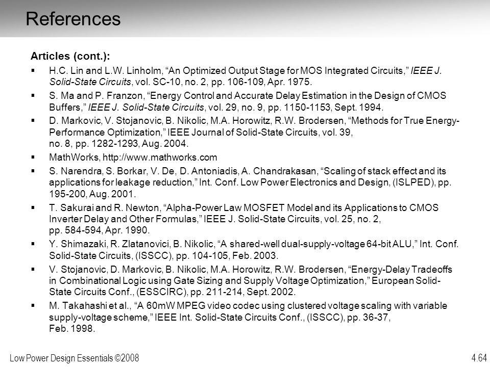 References Articles (cont.):