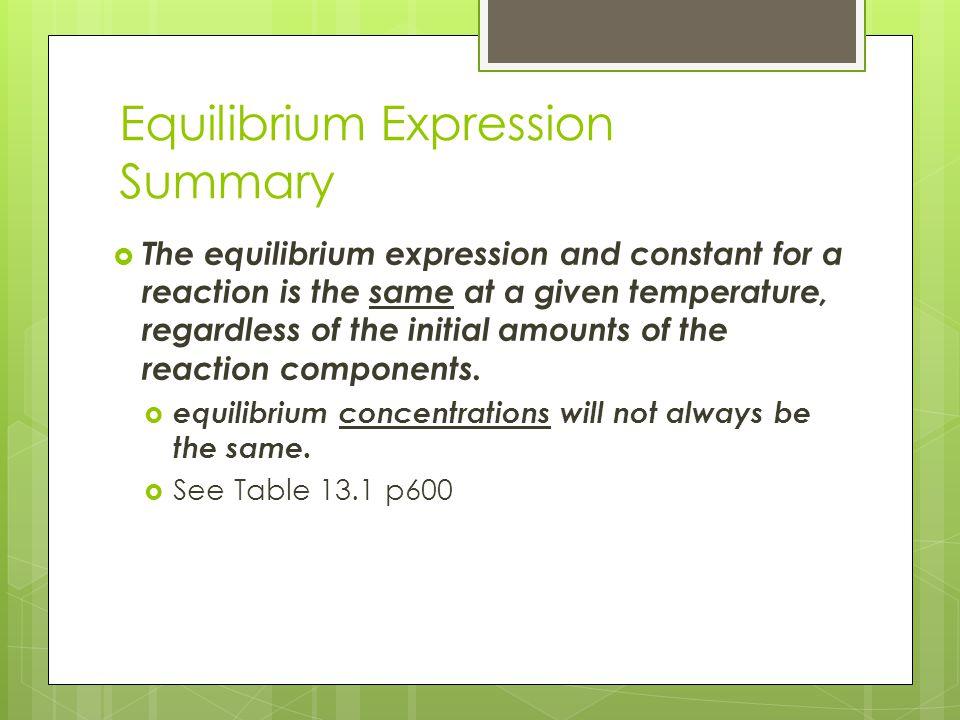 Equilibrium Expression Summary