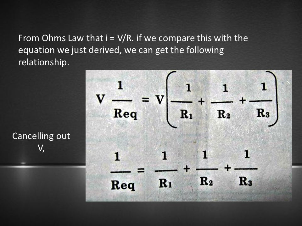 From Ohms Law that i = V/R