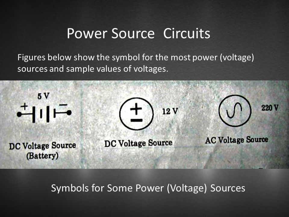 Power Source Circuits Symbols for Some Power (Voltage) Sources