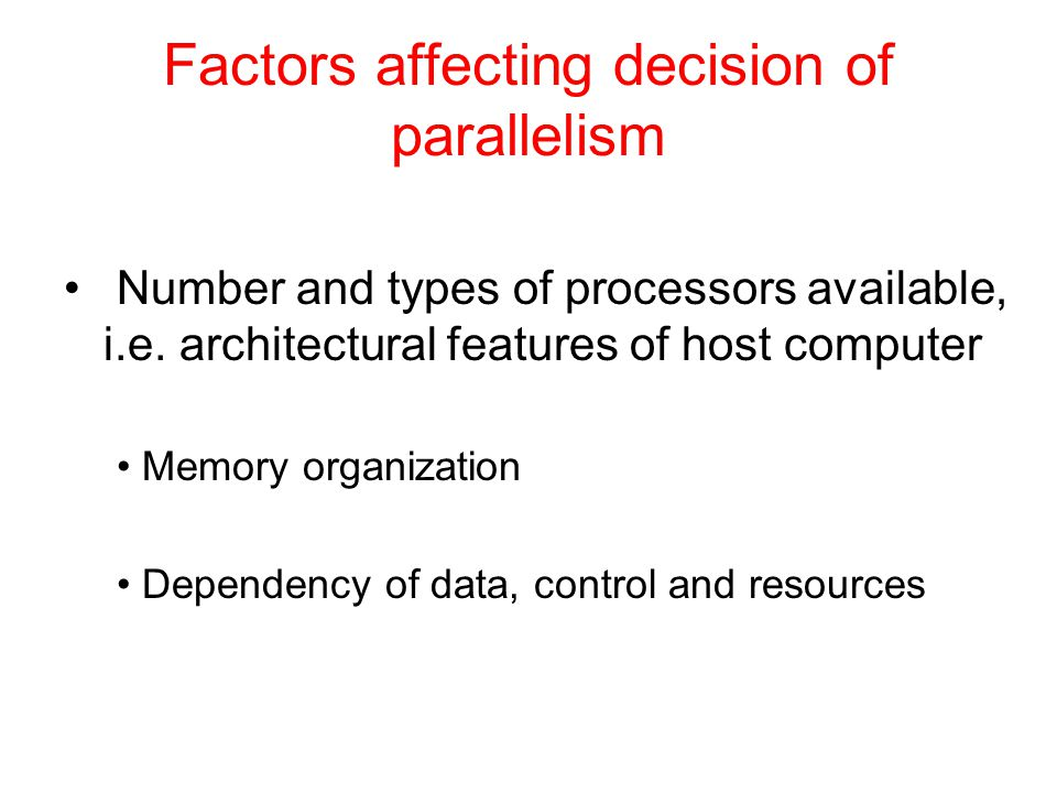 Factors affecting decision of parallelism