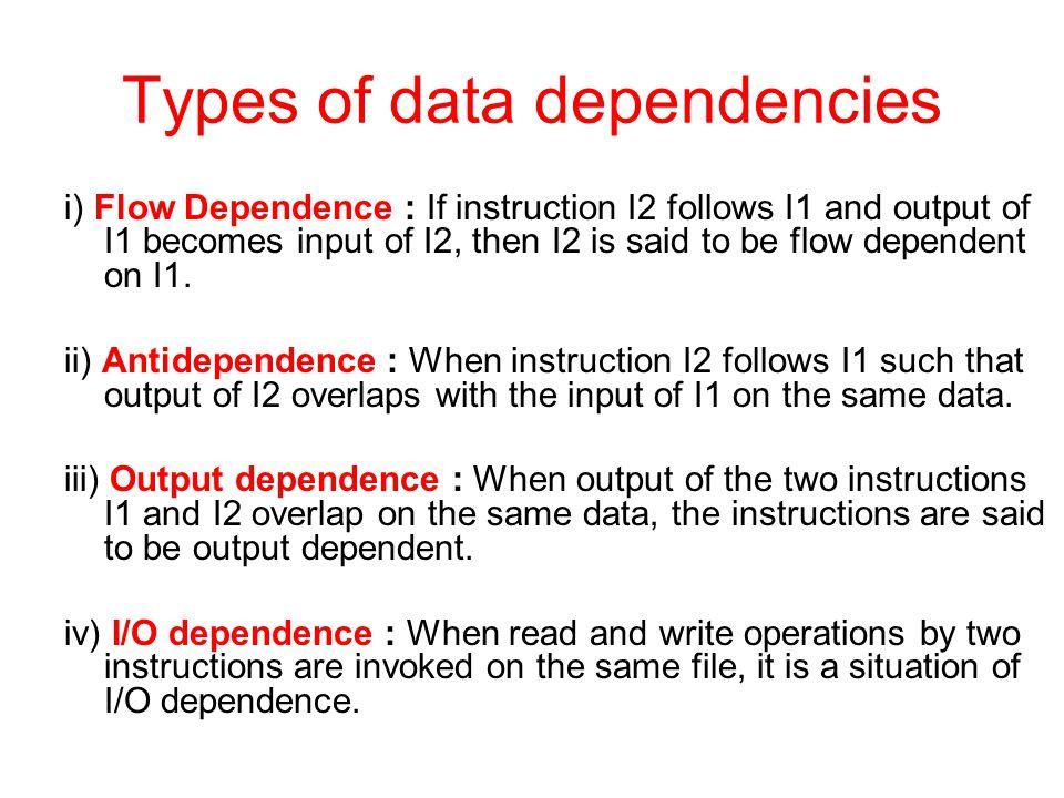 Types of data dependencies